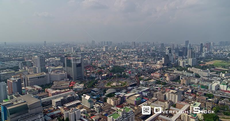 Thailand Bangkok Aerial Slow panorama of Bangkok from near Victory Monument vantage