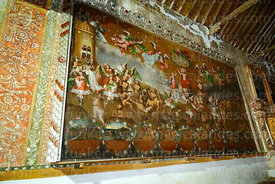 Painting showing The Judgement inside historic church of the Señor de la Cruz, Carabuco, La Paz Department, Bolivia