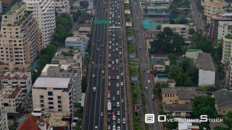 Thailand Bangkok Aerial Flying over Chalerm Maha Nakhon Expressway with cityscape view