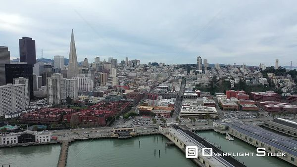Transamerica Pyramid Nob hill and Downtown San Francisco Drone Aerial View