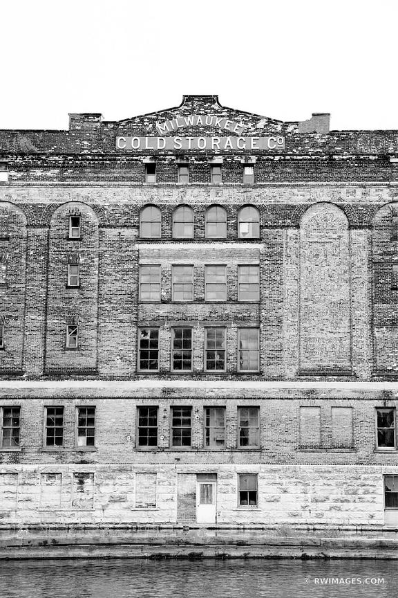 MILWAUKEE COLD STORAGE BUILDING HISTORIC THIRD WARD MILWAUKEE WISCONSIN BLACK AND WHITE VERTICAL