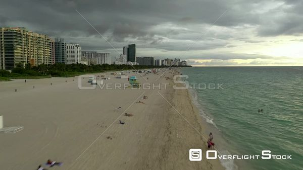 Fast low aerial drone video Miami Beach Florida 4k 60p