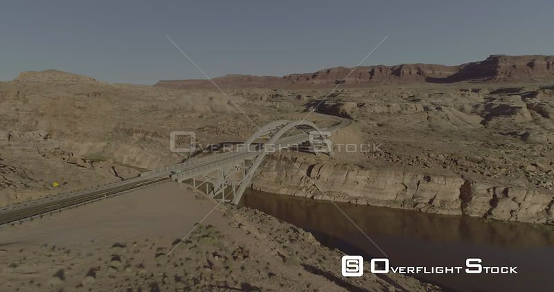 Hite Crossing Bridge over Colorado River Glen Canyon  Lake Powell Drone Video Utah USA