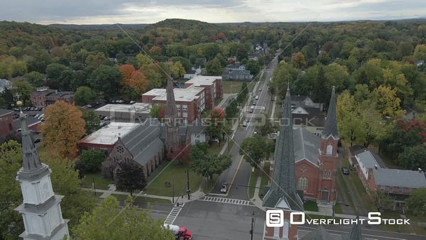 Churches in the Town of Palmyra New York Drone View