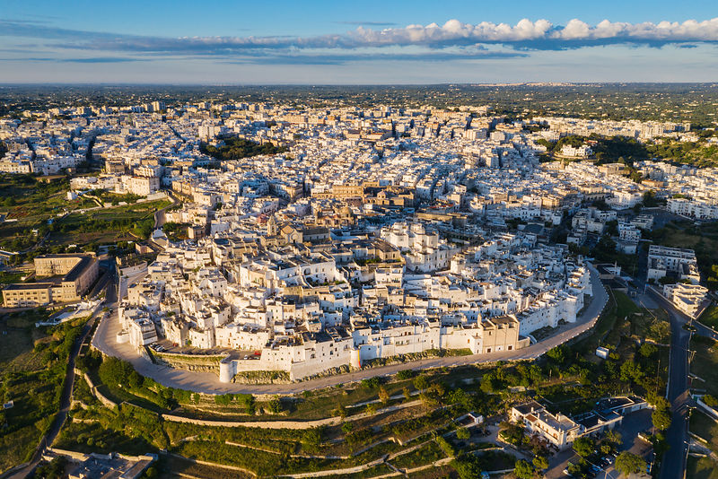 Aerial View of Ostuni at Sunrise
