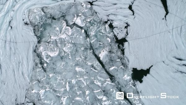Bird's Eye View of Forzen Ice on Lake Michigan Drone Aerial View