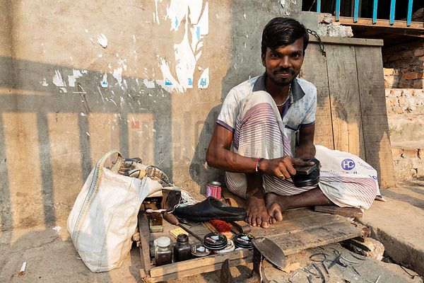 Portrait of a Shoe Repair Man in the Streets of Dhaka