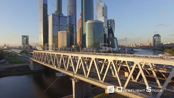 Sunset Reveal of the MBCC Ascending. Moscow Russia Drone Video View