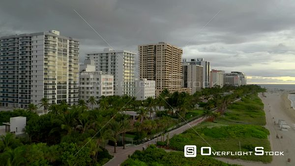 Aerial Miami Beach boardwalk and condominium buildings