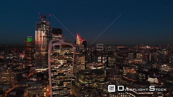 City of London Skyline and Sky Garden, filmed by drone in autumn, at dusk, London, United Kingdom