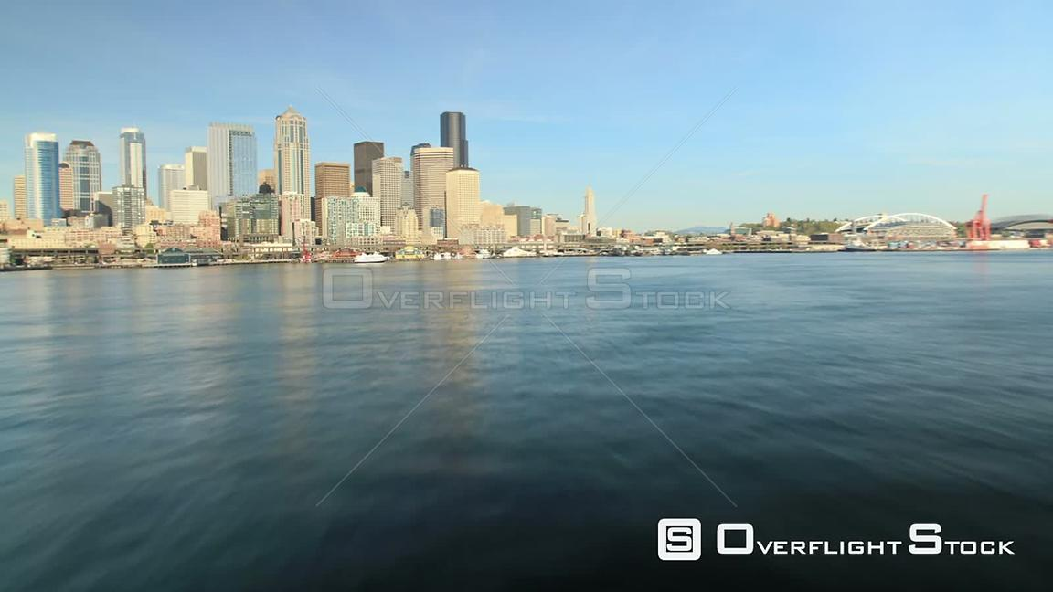 Seattle Washington State USA Time lapse of a ferry ride arriving in Seattle with a front view.
