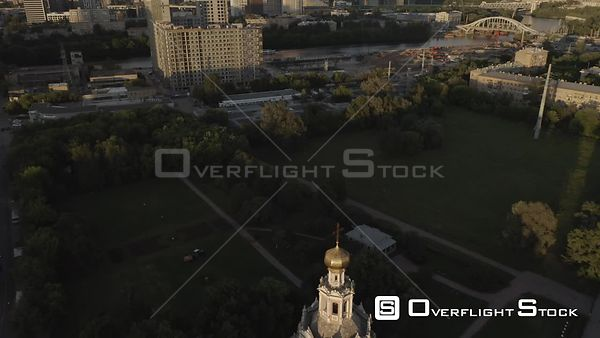 Early Sunset Light Over the Moscow With Business City Center Reveal. Moscow Russia Drone Video View