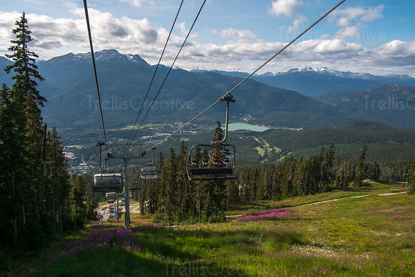 Elevated view of chair lift, Blackcomb Mountain, Whistler, Canada.
