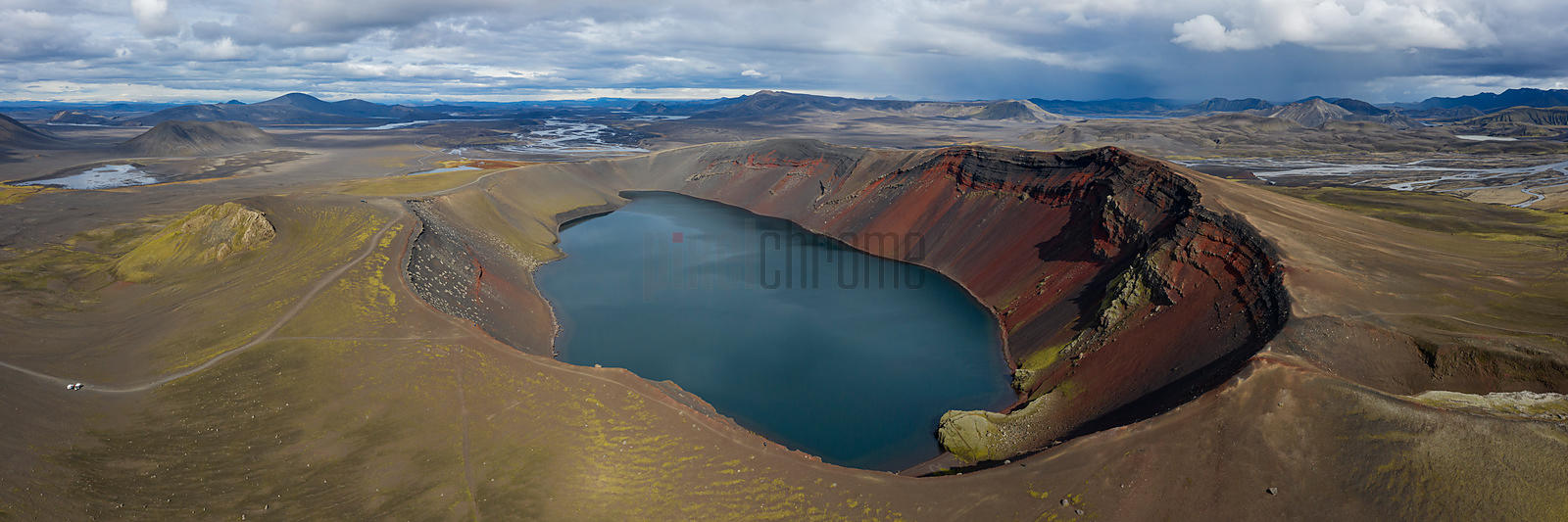 Panorama of Ljotopollur (Ugly Puddle) Crater