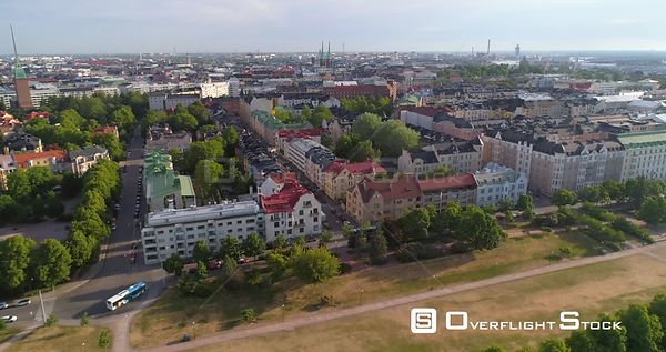 Summer Cityscape, Aerial Sideway View of Eira and Merisatama, Sunny Summer Morning Dawn, Helsinki, Uusimaa, Finland
