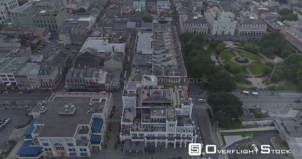 New Orleans Louisiana Aerial Birdseye to reverse panning of French Quarter's Jackson Square