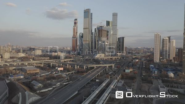 Early Sunset Flight  by the Moscow With Business City Center and Spaghetti Junction. Moscow Russia Drone Video View