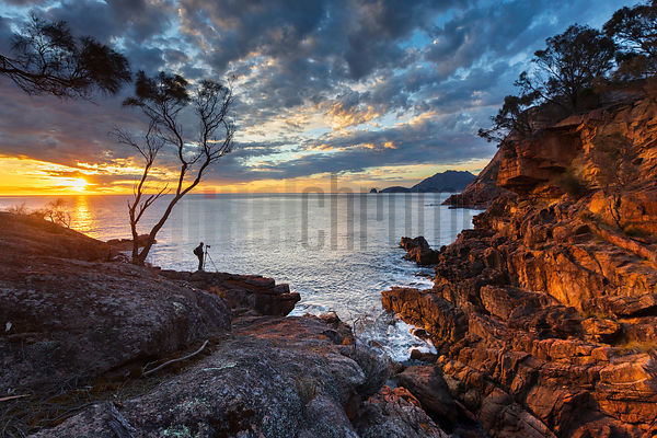 Landscape Photographer at Sleepy Bay at Sunrise