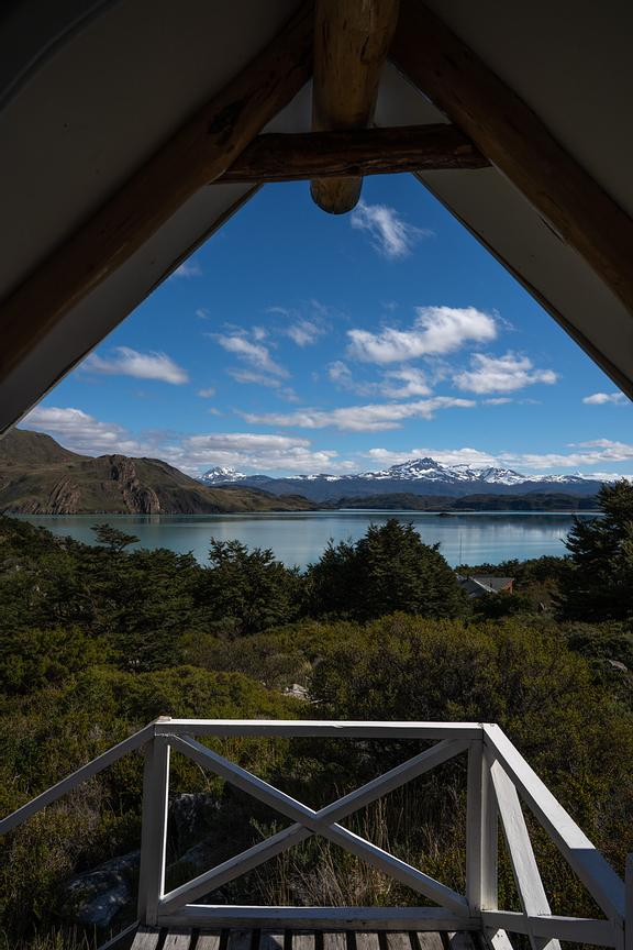 View of mountains from wooden lodge, Torres del Paine National Park, Last Hope Province, Magallanes Region, Chile, South Amer...