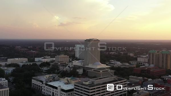 Aerial video Florida State Capitol Downtown Tallahassee FL