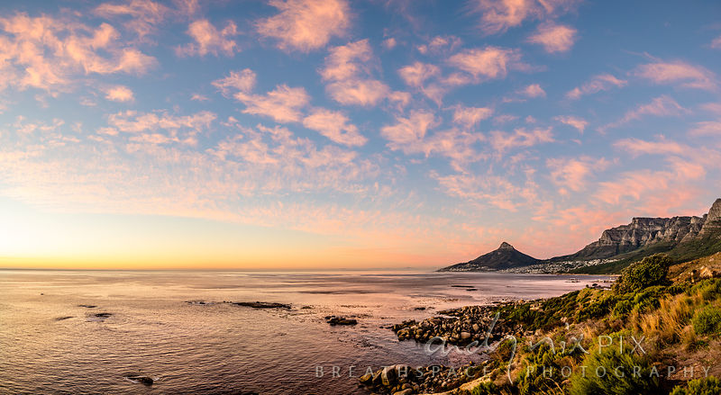 Lion's Head and the Atlantic in a pink sunset
