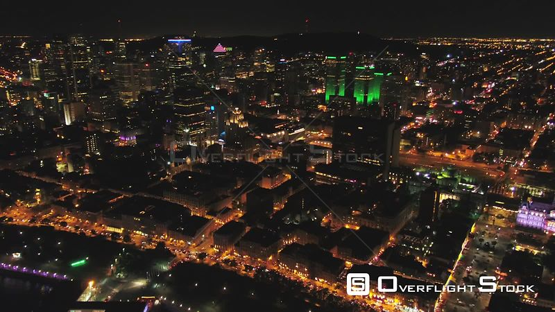 Night Drone Video Downtown Montreal Quebec Canada
