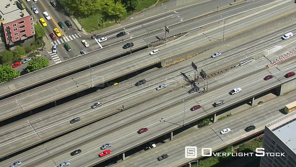 Seattle Washington State USA Time lapse clip of Interstate 5 Freeway from above.