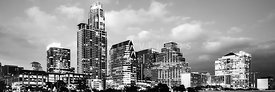 Austin Skyline Black and White Panoramic Photo