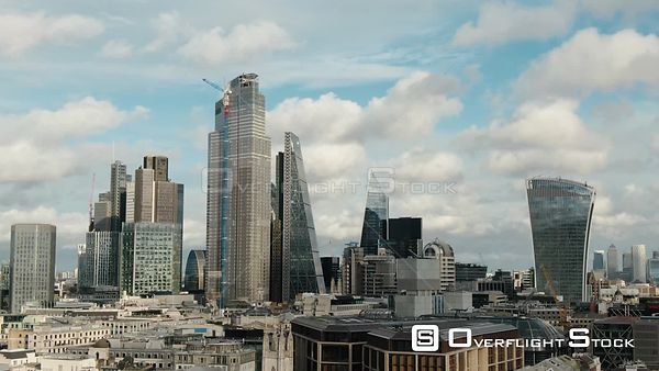 City of London Skyline and Sky Garden, filmed by drone in autumn, day time, London, United Kingdom