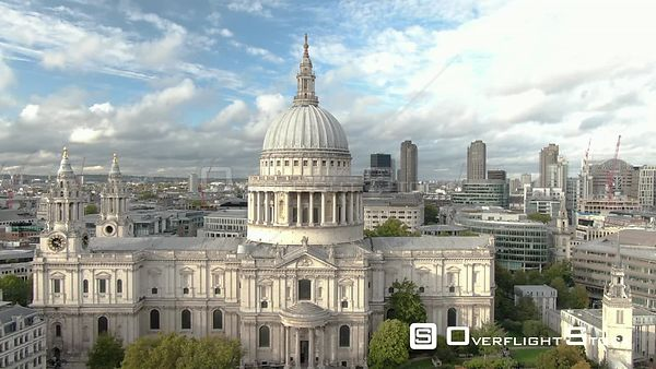 St Paul's Cathedral, filmed by drone in autumn, day time, London, United Kingdom
