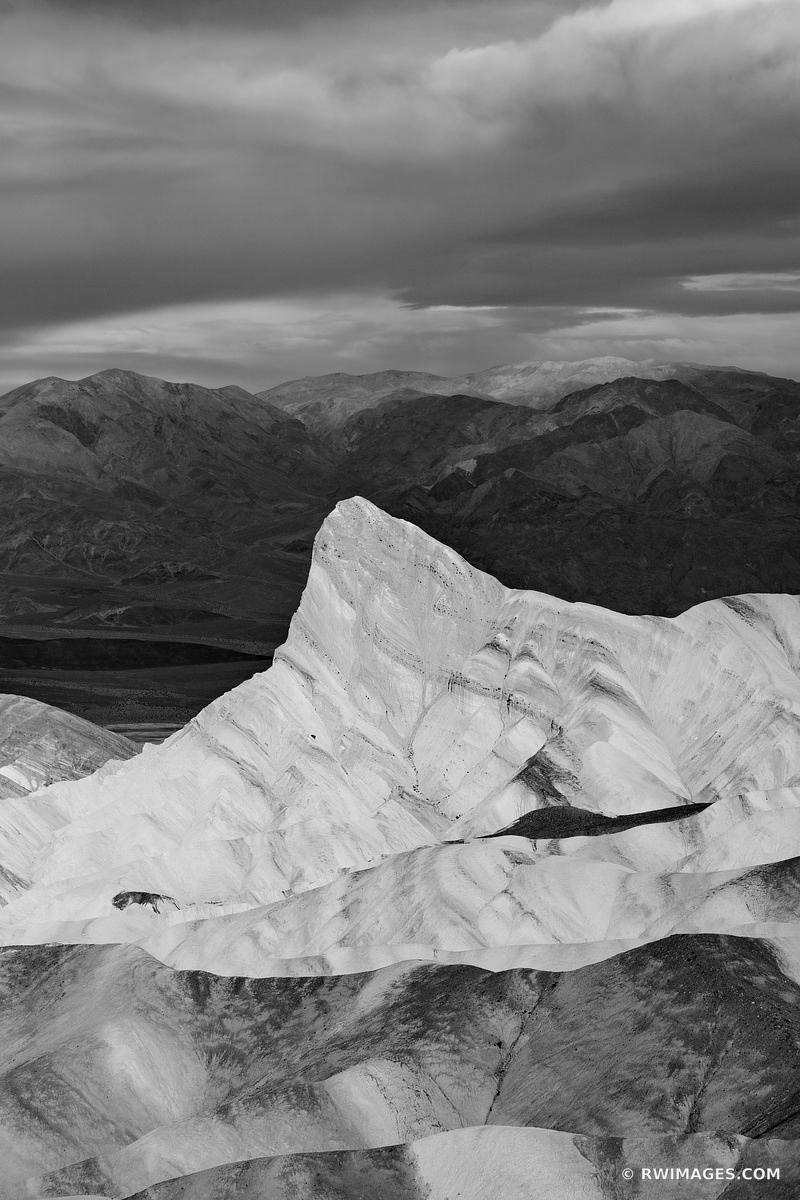 MANLY BEACON ZABRISKIE POINT SUNRISE DEATH VALLEY CALIFORNIA BLACK AND WHITE VERTICAL