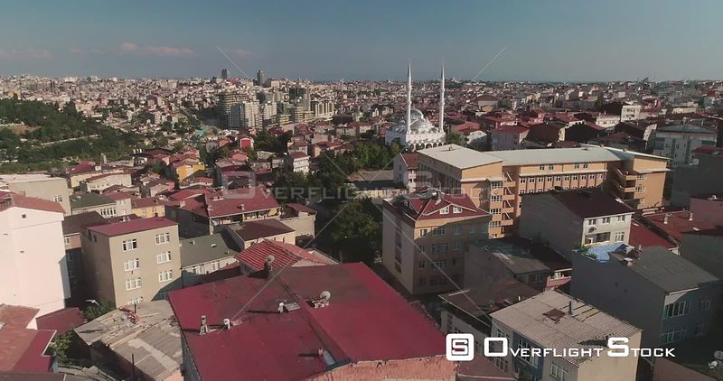 Aerial View Over Istanbul Rooftops Reveals Local Mosque Turkey