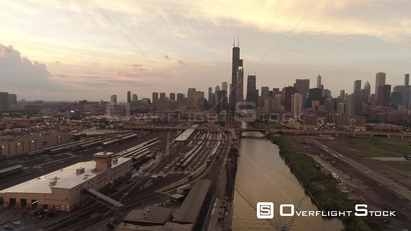 South Chicago River and Downtown Chicago Illinois Drone Aerial View