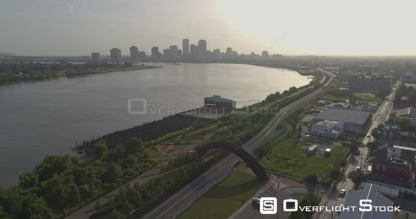New Orleans Louisiana Aerial Panning birdseye of Crescent Park Trail and Bywater district