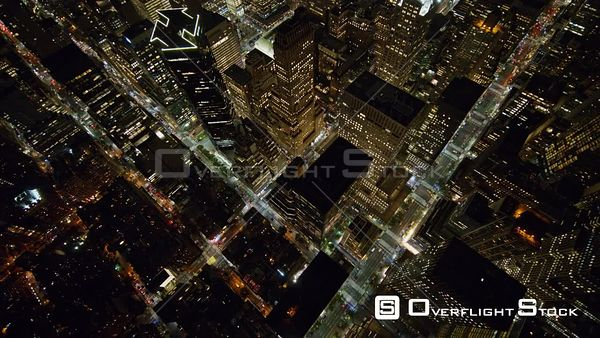NYC New York Vertical, oriented at an angle, Midtown Manhattan cityscape view heading toward East River near E 40th St