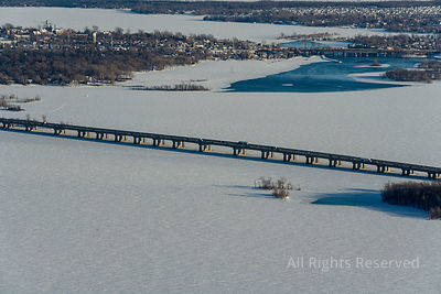 Bridge over Frozen Lake Vaudreuil-Dorion Quebec Canada