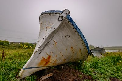 Abandoned boat on Cape Breton Shore