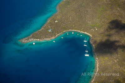 Sailboats Peter Island and Dead Chest Island. British Virgin Islands Caribbean