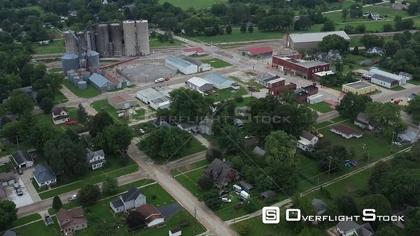 Small town overview, Dexter, Iowa, USA