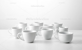 Set of several models of coffee cups viewed from below.