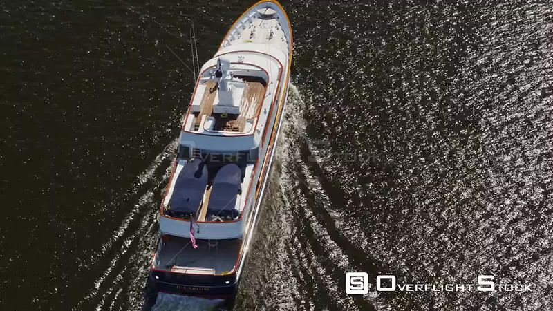 Norfolk Virginia Aerial Birdseye to vertical close up of yacht cruising in river