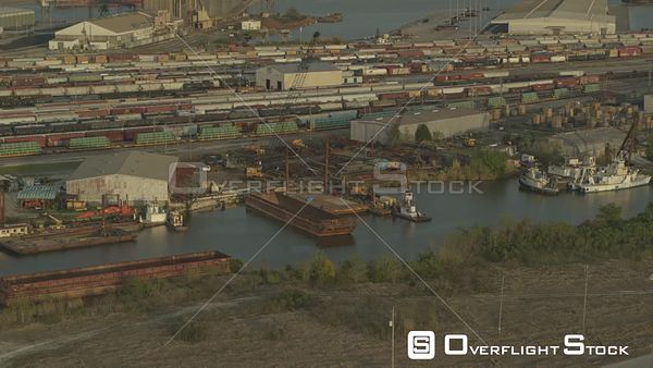 Mobile Alabama freight rail and docklands in the industrial area  DJI Inspire 2, X7, 6k