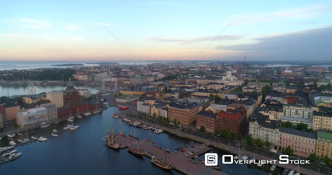 Sunrise Cityscape, Aerial Decreasing View of Kruununhaka Area and the Helsinki Cathedral, Helsingfors City, Sunny Summer Morn...