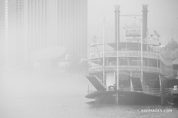 NATCHEZ STEAMBOAT IN MORNING FOG MISSISSIPPI RIVER NEW ORLEANS LOUISIANA BLACK AND WHITE