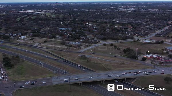Rush Hour Traffic in a Small City with Views to the Horizon, Bryan, Texas, USA