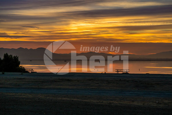 Dramatic vibrant sunset scenery in Lake Elsinore, California