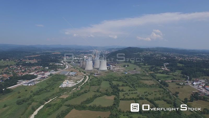 Thermal power plant at Tuzla, Bosnia and Herzegovina drone video