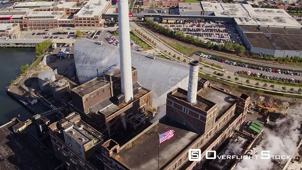 Baltimore Maryland Aerial Birdseye detail view of supplier brick building with steam