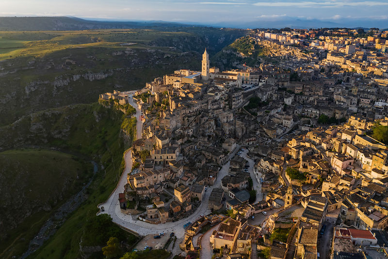 Elevated View of Matera at Sunrise