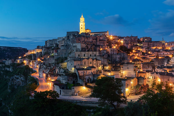 Skyline of Matera at Blue Hour
